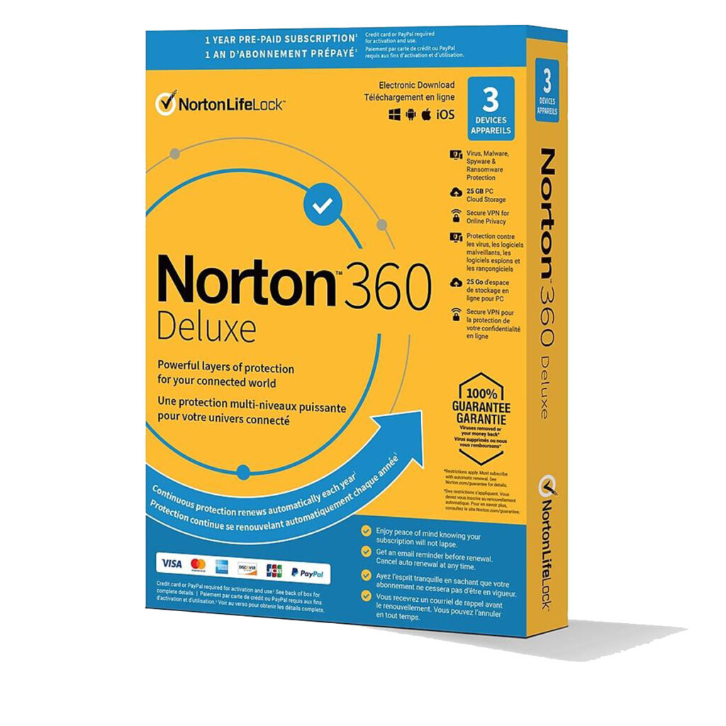Norton 360 Deluxe + 25 GB Cloud Storage (3 Dispositivos, 1 Año)